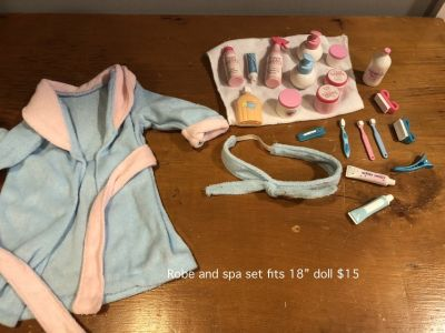 "Robe and Spa accessories fit 18""doll"
