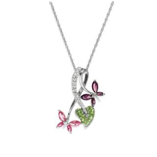 Multicolor Butterfly Heart Necklace