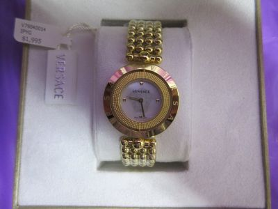Brand new Authentic Versace WOMEN'S 34mm MOTHER OF DIAL SWISS WATCH