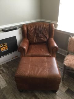 Leather Sofa w/ Chair and Ottoman