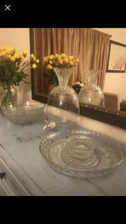 Glass serving trays, bowls, and drink dispenser