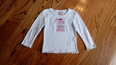 "Boutique ""Santa I Want It All"" knit top. New w/tags. Size 3-6M"