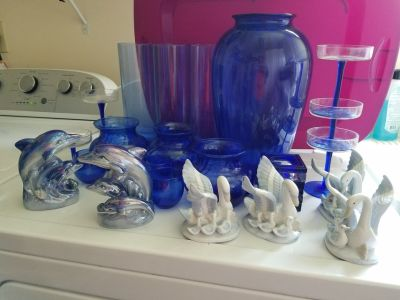Brillian Blue Home Decor (Vases, Champagne glasses, dolphins, swans, candle holders)