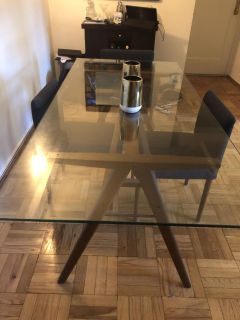 West Elm Jensen style dining table and 4 chairs