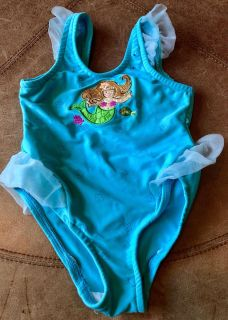 Calling All Mermaids! Darling Rhinestone Studded Aqua Blue One-Piece Swimsuit with Sheer Tulle Skirt