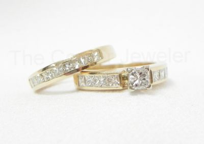14K Yellow Gold .46ct Diamond Princess Wedding Set