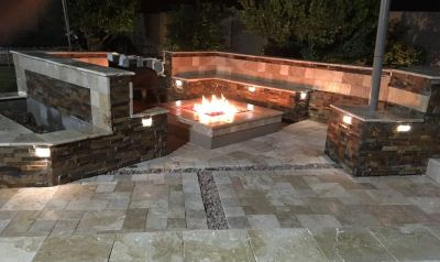 Pool deck remodel and repairs ,concrete overlays and travertine pavers