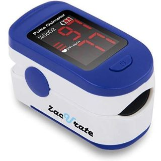 Zacurate 500BL Fingertip Pulse Oximeter Blood Oxygen Saturation Monitor with Batteries and Lanyard (Navy Blue)