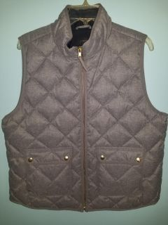 New, J Crew, Womens XL, Gray Quilted Vest