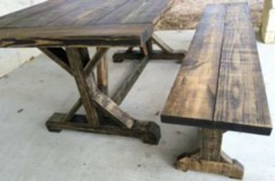 Rustic Farmhouse Dining Table w/Bench