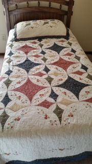 Twin bed spread, sham and valance.