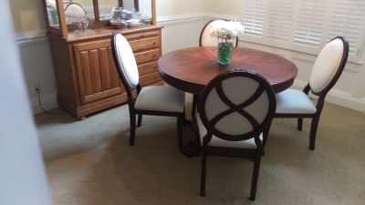 Dining table & 4 chairs, extra leaf