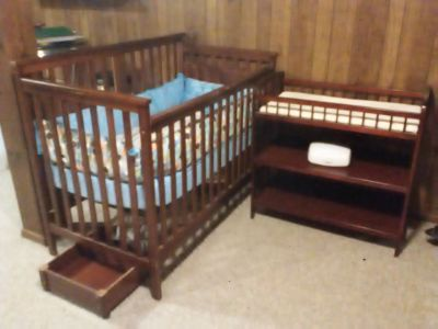 Used crib and changing table