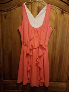 HAE brand-coral ruffle dress-size large-new