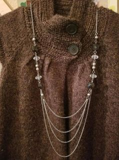 Black & Clear Beaded Chain Necklace