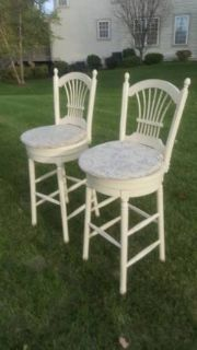 Pair of Swivel Cream Barstools with pillows #60