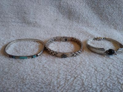 Women's real silver Harley Davidson bracelet and 2 others