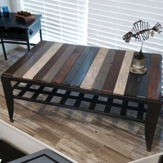 Pallet Wood and Metal Table
