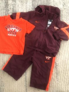3-6 months Nike Virginia Tech warm-up suit and 6 months t-shirt