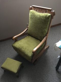 100 yr old chair and ottoman antique