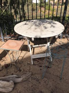Plant stands and garden table