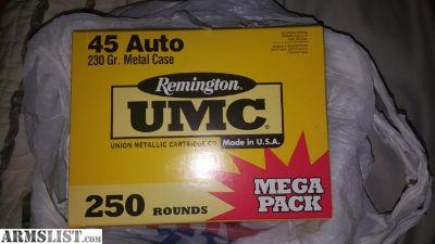For Sale: Mega Pack Remington UMC 250ct .45 ACP