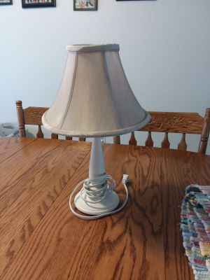 Small wood white lamp with tan shade excellent condition