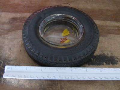 Vintage Seiberling Rubber Company Rubber Tire with Glass Center AshTray
