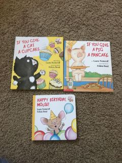3 books. Cat is hardcover and in perfect shape. $Happy birthday is a board book in near perfect shape. 6