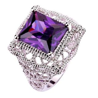 TODAY**Solitaire 925 Sterling Silver Gorgeous*13mm Emerald Cut Amethyst Ring***BRAND NEW