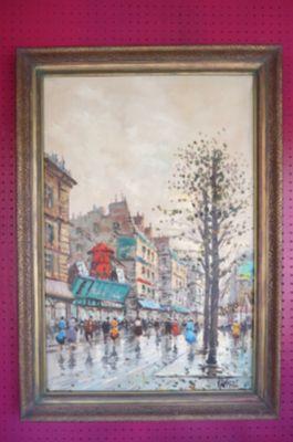 Vintage MCM Impressionist Moulin Rouge on canvas