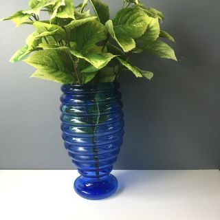 Cobalt blue glass beehive floor vase - circa 1940s