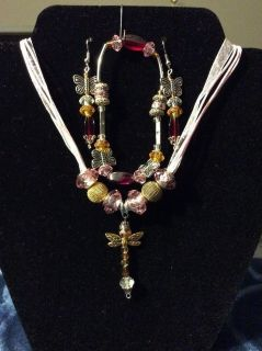Crafted Hand Made Jewelry.Pink Dragonfly