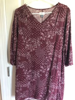 Shift dress. Looks plain on hanger, but super flattering. Ladies medium