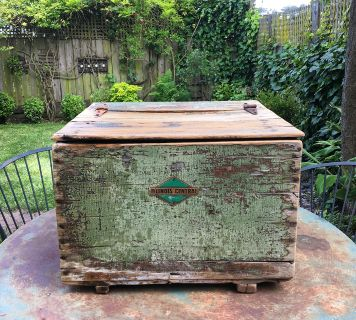 Antique Illinois Central railroad wood chest