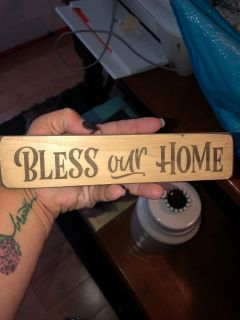 Small Bless our Home wood block decor