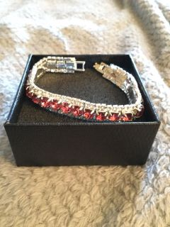 Red Stone Silver Plated Austrian Crystal Tennis Bracelet