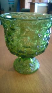 Green Crinkle Glass Compote