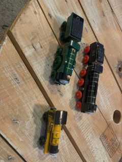 Lot of Wooden Thomas and Friends Trains - Emily, Hiro, and Duncan. Two have their tenders! So sweet. Loved, tons of life left!