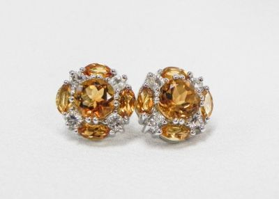 Citrine and White Round CZ Cluster Sterling Silver earrings