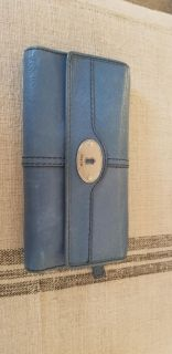 LEATHER FOSSIL WALLET BLUE