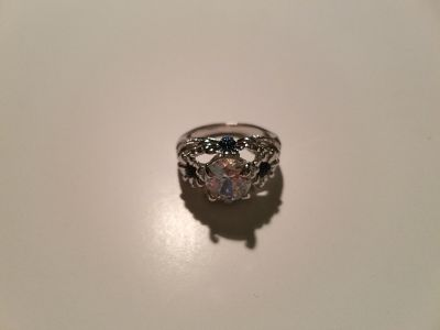 Blue & White Topaz Sterling Silver Floral Ring - Size 7.5