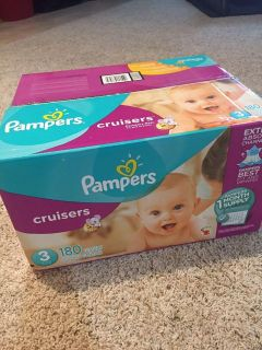 Pampers Cruisers size 3 diapers, new box of 180. Smoke free pet free home