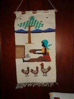 HANDWOVEN WALL HANGING: GIRL WITH CHICKENS