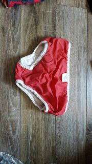 Swim diaper size large I'd say 18 moth to 24 months