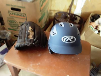 Baseball Helmet and Glove