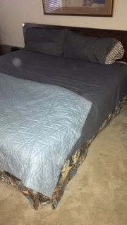 King Bed mattress, headboard, box spring and bedding