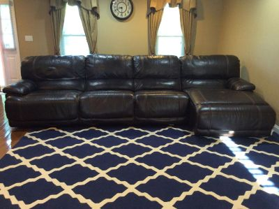 Chocolate Brown Power Sectional with Chaise Lounger