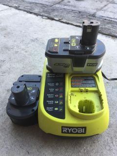 Ryobi charger with two batteries