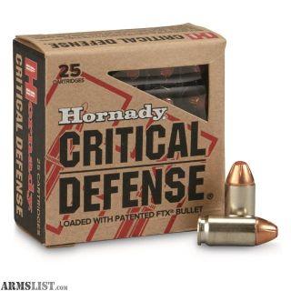 For Sale: Hornady Critical Defense 380 Auto 90 GR FTX 25 Cartridges